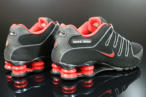 black and red nike shox